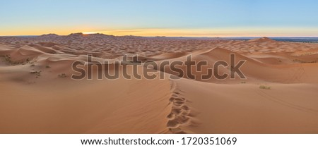 Large panorama landscape in desert with foot steps in Erg Chebbi near Merzouga, Saharan Morocco. Taken in morning before sunrise. Combined several vertical photos.  Royalty-Free Stock Photo #1720351069