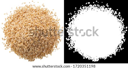 Pile of wheat groats, a coarse ground einkorn meal, isolated, top view #1720351198