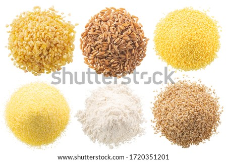 Piles of wheat groats, mealsl and flours, isolated, top view #1720351201