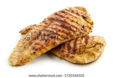 grilled chicken fillet meat isolated on white background Royalty-Free Stock Photo #1720368502