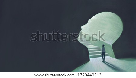 Success hope ambition and dream concept. Surreal artwork. Businessman with a stair in a gate, business background illustration. painting
