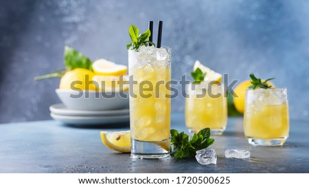 Fresh summer cocktail with lemons, mint and ice, selective focus image and slider format #1720500625