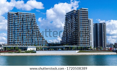 Buildings on Belgrade Waterfront new chapter in the city of Belgrade, Serbia. Belgrade Waterfront, known in Serbian as Belgrade on Water is an urban renewal development project. Royalty-Free Stock Photo #1720508389