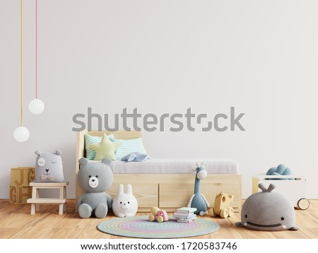 Mock up wall in the children's room in white wall background .3d rendering #1720583746