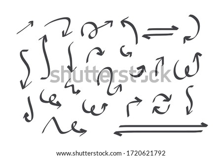 Hand drawn arrows doodle direction mark. Handmade sketch symbols set on a white background. vector illustration graphic design elements. #1720621792
