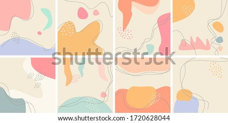 Set of eight abstract backgrounds. Hand drawn various shapes and doodle objects. Contemporary modern trendy vector illustrations. Every background is isolated. Pastel colors #1720628044