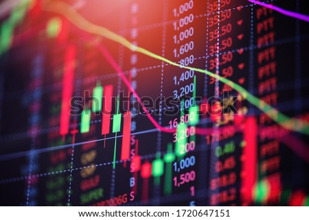 Stock market exchange loss trading graph analysis investment indicator business graph charts of financial board display candlestick crisis stock crash red price chart fall money  #1720647151