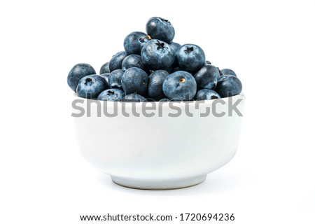 blueberry in cup isolated include clipping path on white background Royalty-Free Stock Photo #1720694236