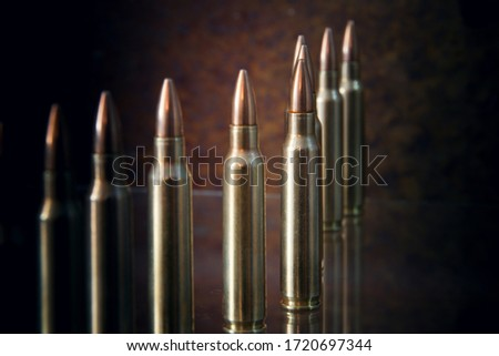 Ammunition for firearms. (long firearms) Royalty-Free Stock Photo #1720697344