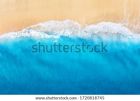Coast with waves as a background from top view. Blue water background from drone. Summer seascape from air. Travel - image #1720818745