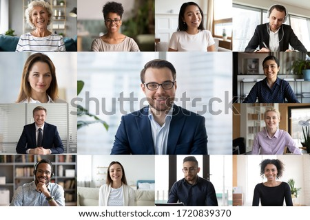 Diverse colleagues engaged in webcam conference, discuss business ideas online together, multiracial businesspeople talk on video call, have online web briefing with work team, using modern app Royalty-Free Stock Photo #1720839370