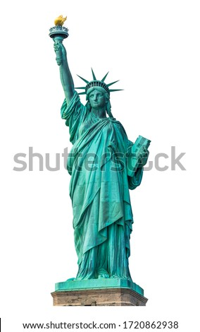 Statue of Liberty National Monument isolated on white background. Clipping path.  Royalty-Free Stock Photo #1720862938