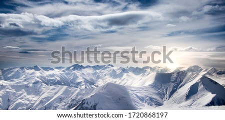 Sunrise at the Edge of Snowy Mountains - Aerial View of the Caucasus Mountains in Gudauri, Georgia (Winter)