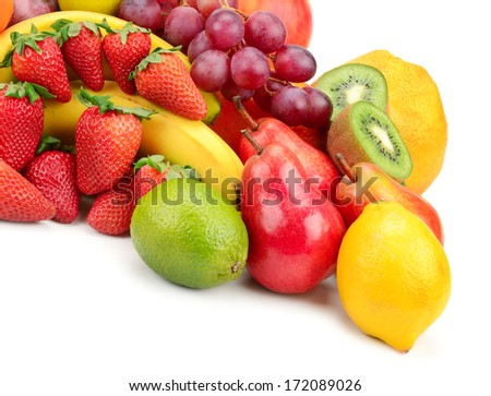fresh fruits isolated on a white #172089026