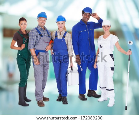 Group Of Multiracial People With Diverse Professions Standing Together #172089230