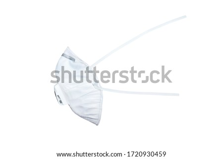 N95 mask for protection pm 2.5 and corona virus isolated on white background. Medical mask protection against pollution, virus, flu, coughing and coronavirus. #1720930459