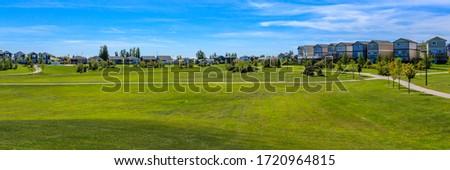 Anita Langford Park is located in the Hampton Village neighborhood of Saskatoon. Royalty-Free Stock Photo #1720964815