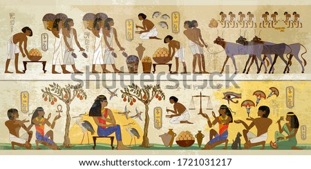 Life of egyptians. History art. Ancient Egypt frescoes. Agriculture, fishery, farm. Old tradition, religion and culture. Hieroglyphic carvings on exterior walls of an old temple #1721031217