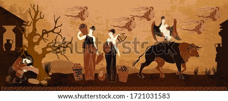 Old history and culture. Ancient Greece. Goddesses and people. Black figure pottery style. Ancient Greek mythology art #1721031583