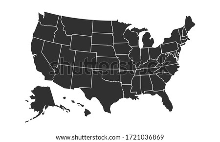 USA map background with states. United States of America map isolated on white background. Vector illustration #1721036869