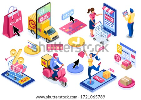 Application for pay, discount on e commerces, online discount. Cart and pay on e-shop application, e commerce cart. E-shop application with purchasing characters and text. Cartoon vector illustration. #1721065789