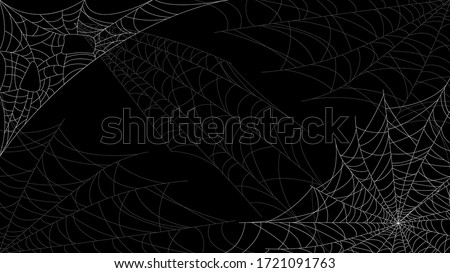 Spider Web On Dark Background Halloween Design Elements Spooky Scary Horror Decor Vector #1721091763