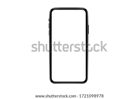 smartphone with a blank screen lying on a flat surface. High Resolution Vector of responsive web design ,app, template site.  #1721098978