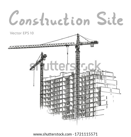 Building Construction and Tower Cranes. City. Vector draw #1721115571