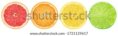 citrus slice, grapefruit, orange, lemon, lime, isolated on white background, clipping path #1721129617