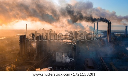 industry metallurgical plant dawn smoke smog emissions bad ecology aerial photography #1721153281
