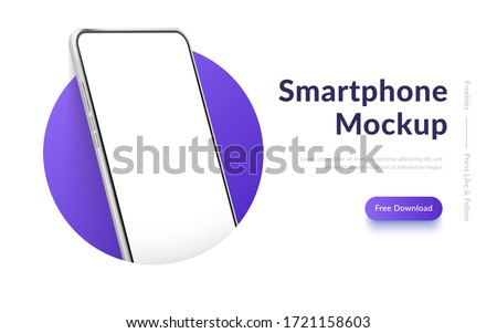 White realistic smartphone vector mockup in the circle. 3d mobile phone with blank white screen. Modern cell phone template on gradient background. Illustration of device 3d screen #1721158603