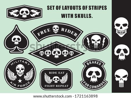 A set of mock-up patches with the image of a skull. For military and bikers