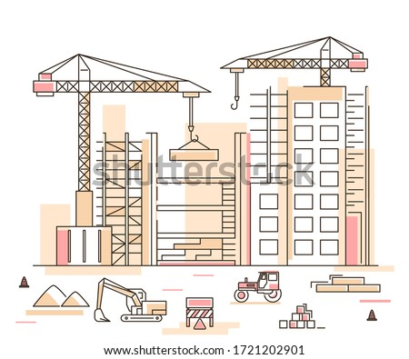 Construction Building Concept Contour Linear Style Include of Crane, Excavator and Tractor. Vector illustration of Lineart Royalty-Free Stock Photo #1721202901