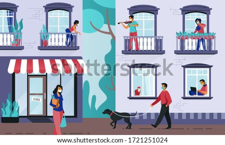 People in windows. Persons on quarantine at their apartments, people on streets in medical masks preventing coronavirus. Vector color illustration neighbors staying at home #1721251024
