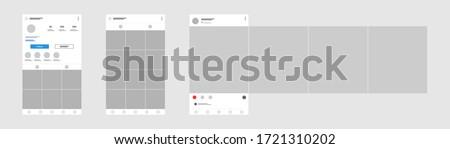Social media mobile app page template. Carousel post. Minimal design. #1721310202