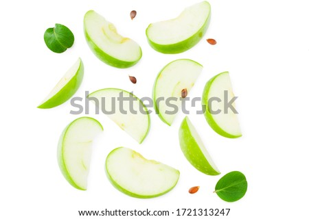 piece of green apple with green leaves isolated on white background. top view #1721313247