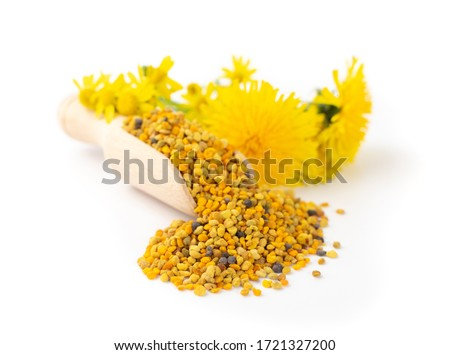 Scattered bee pollen or perga isolated on white background. Raw brown, yellow, orange and blue flower pollen grains or bee bread in wooden scoop. Healthy food supplement Royalty-Free Stock Photo #1721327200