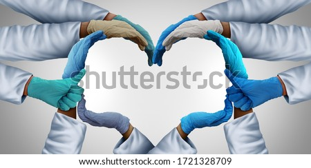 Essential health care workers and frontline medical group or hospital medicine teamwork as a group of doctors and nurses joining together as physicians unified in a 3D illustration style.