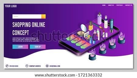 Modern Landing page template concept of Cosmetic shopping online for website and mobile website. Easy to edit and customize. Vector illustration #1721363332