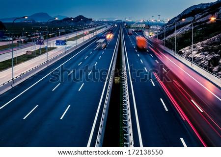 Highway at night in long exposure #172138550