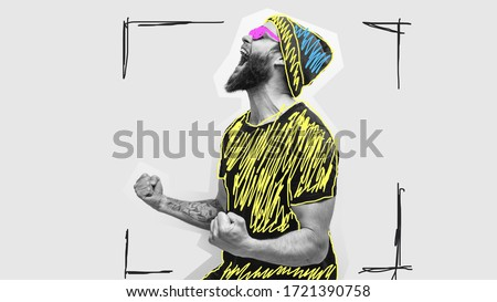 Crazy hipster guy emotions. Collage in magazine style with happy emotions. Discount, sale, season sales. Colorful summer concept. #1721390758