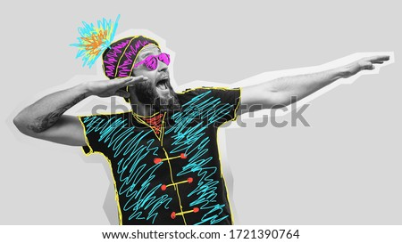 Crazy hipster guy emotions. Collage in magazine style with happy emotions. Discount, sale, season sales. Colorful summer concept. Royalty-Free Stock Photo #1721390764