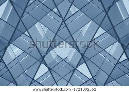 Metal framework. Reworked photo of structural glazing. Glass wall or ceiling structure. Abstract photo of modern architecture fragment with geometric pattern of polygons and triangles. #1721392552