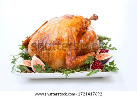 Garnished traditional roasted turkey, garnished with fresh figs, pomegranate, and herbs. On white background. #1721417692