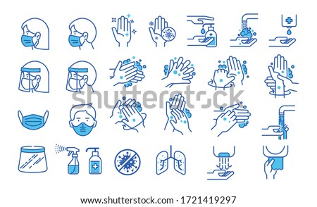 Set of hand washing icons in thin line style. Hygiene icons. The icons as hand wash, soap, alcohol, detergent, anti bacterial and mask. Vector illustrations. Royalty-Free Stock Photo #1721419297