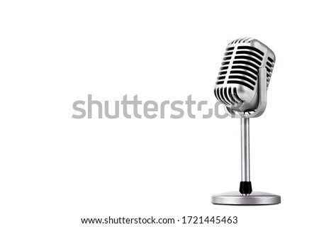 Retro style microphone isolated on white background Royalty-Free Stock Photo #1721445463