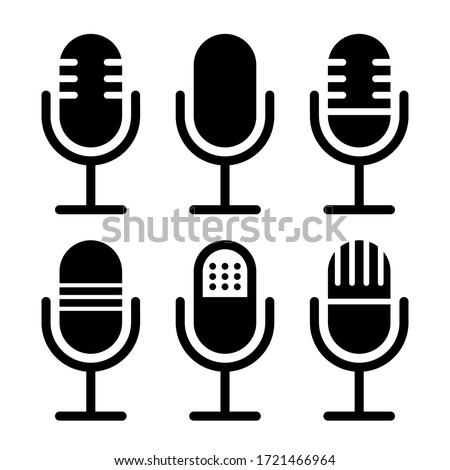 Microphone vector icon set isolated on white background. podcast icon vector. Voice vector icon, Record. Microphone - recording Studio Symbol. Retro microphone icon