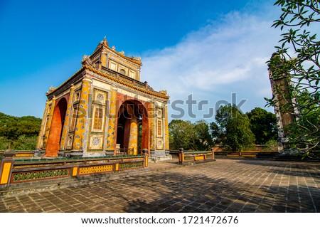 Thua Thien Hue, Vietnam - April 30th 2020: Tomb of Tu Duc emperor in Hue, Vietnam. A UNESCO World Heritage Site #1721472676