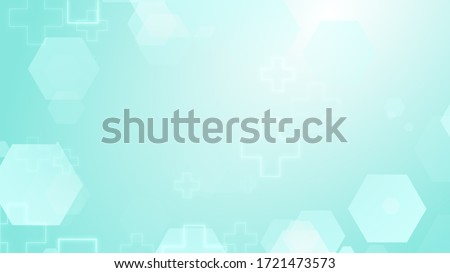 Hexagon cross geometric blue green pattern medical bright background. Abstract graphic design technology and science concept.