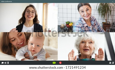 Family chatting distantly using video conferencing service. Young mother showing cute baby to grandmothers and sister via online virtual chat, relatives glad to see adorable child, enjoying group call #1721491234